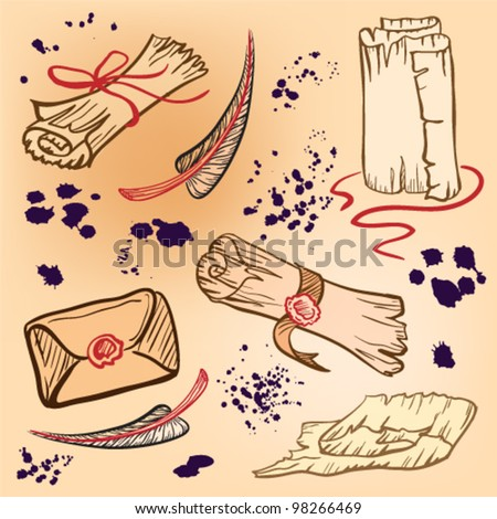 Old scrolls, letters, pens, papers vector background