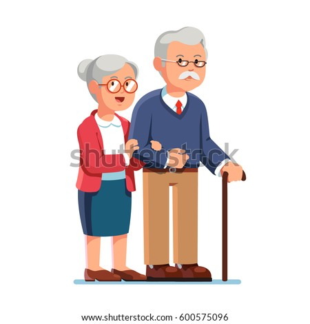 old senior man and woman in