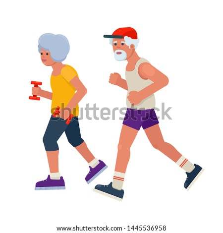 Old senior man and woman jogging. Vector illustration in flat style on white background.