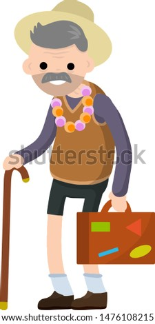 Old senior man in shorts and hat on vacation. Retirement. Cartoon flat illustration. Trip of grandparent. Grandfather Traveler.