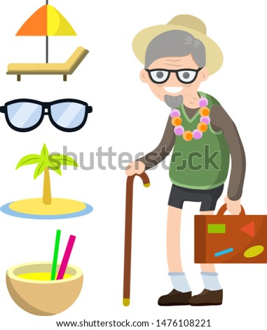 Old senior man in shorts and hat on vacation. Retirement. Cartoon flat illustration. Trip of grandparent. Grandfather Traveler. Chaise longue, sunglasses, palm, cocktail. Suitcase in hand for travel