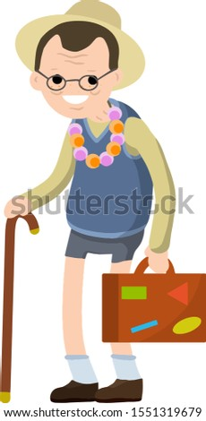 Old senior man in shorts and hat on vacation. Retirement. journey to South. Cartoon flat illustration. Trip of grandparent. Grandfather Traveler. Suitcase in hand for travel