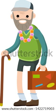 Old senior man in shorts and hat on vacation. Suitcase in hand for travel. Grandfather Traveler. Retirement. journey to the South. Cartoon flat illustration. Trip of a grandparent