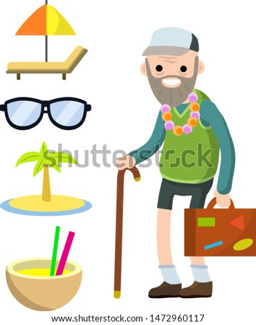 Old senior man in shorts and hat on vacation. Suitcase in hand for travel. Retirement. Cartoon flat illustration. Trip of grandparent. Grandfather Traveler. Chaise longue, sunglasses, palm, cocktail
