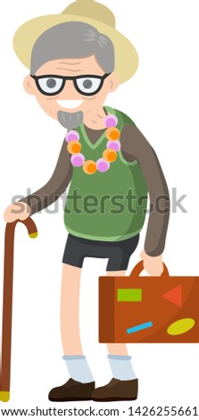 Old senior man in shorts and hat on vacation. Suitcase in hand for travel. Retirement. journey to the South. Cartoon flat illustration. Trip of a grandparent. Grandfather Traveler