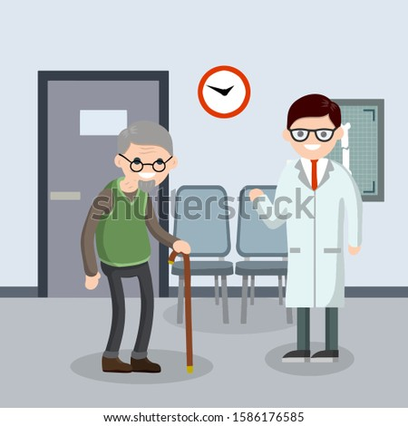 Old senior man in the doctor office in hospital. Cartoon flat illustration. Cute Grandfather. Providing medical care. Two character. Trauma patient. Happy grandparent