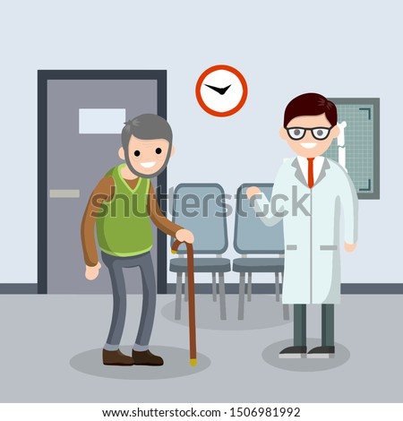 Old senior man in the doctor office in hospital. Happy grandparent. Cartoon flat illustration. Cute Grandfather. Providing medical care. Two character. Trauma patient