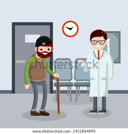 Old senior man in the doctor office in hospital. Trauma patient. Happy grandparent. Cartoon flat illustration. Cute Grandfather. Providing medical care. Two character.