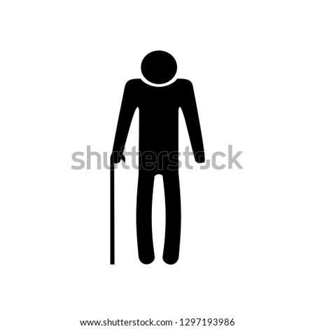 Old senior man. Outline vector