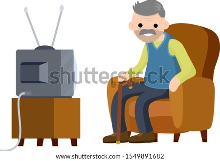 Old Senior man sitting in armchair and watching retro TV. Funny grandfather. Lifestyle of grandpa. Cartoon flat illustration. Hobbies and pastime oldster