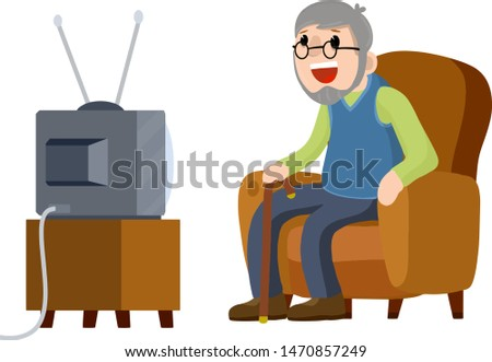 Old Senior man sitting in armchair and watching retro TV. grandfather with a beard. Lifestyle of grandpa. Cartoon flat illustration. Hobbies and pastime oldster