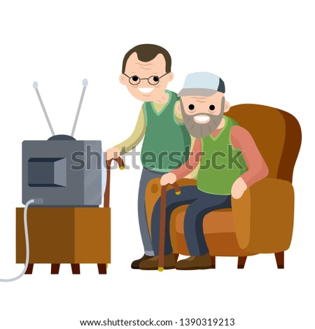 Old Senior man sitting to the couch and watching retro TV. Hobbies and pastime oldster. Two grandfathers with a beard and glasses in a nursing home. Lifestyle of grandpa. Cartoon flat illustration