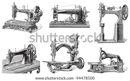 Old sewing machine collection / vintage illustrations from Meyers Konversations-Lexikon 1897