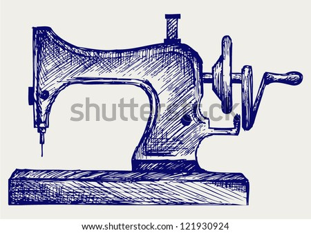Old sewing machine. Doodle style