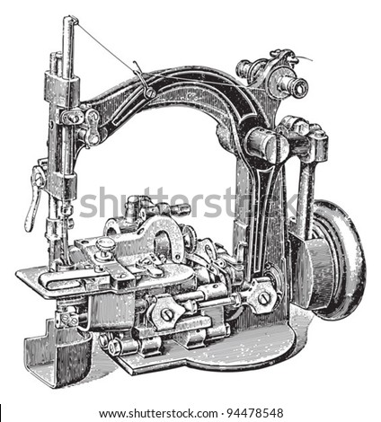 Old sewing machine / vintage illustrations from Meyers Konversations-Lexik on 1897 - stock vector