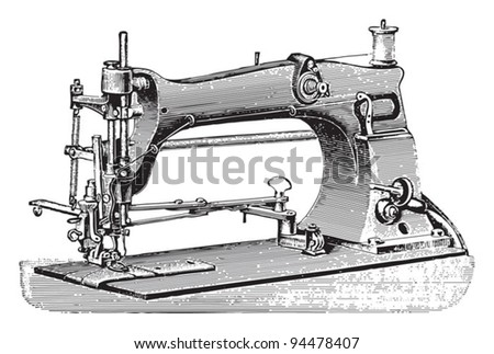 Old sewing machine / vintage illustrations from Meyers Konversations-Lexikon 1897