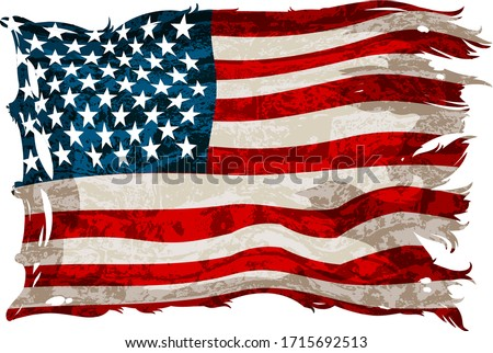Old, shabby american flag on a white background. Detailed realistic illustration.