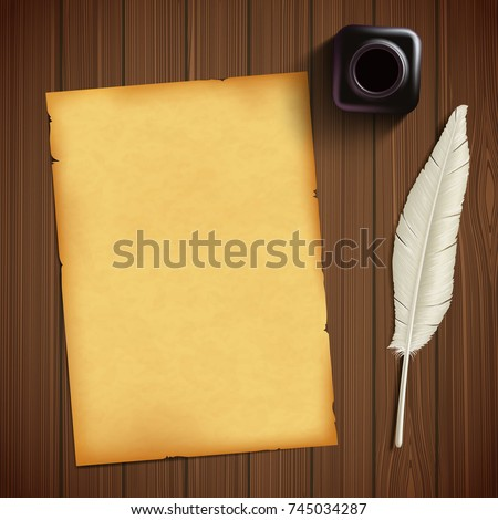 Old sheet of paper for writing and feather with an inkwell on a wooden table. Vintage retro style background. Stock vector illustration. Zdjęcia stock ©