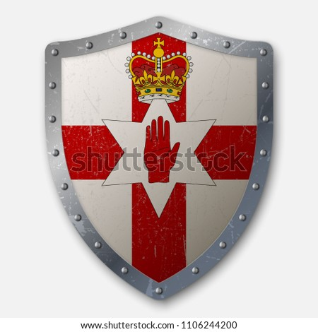 old shield with flag of