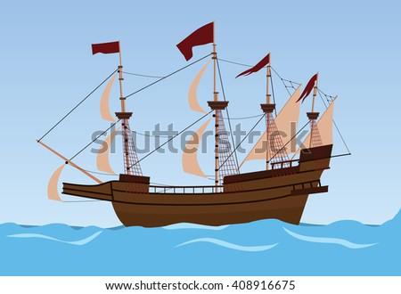 old ship sailing vector