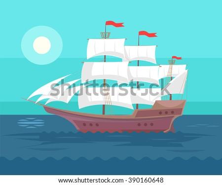 old ship vector flat cartoon