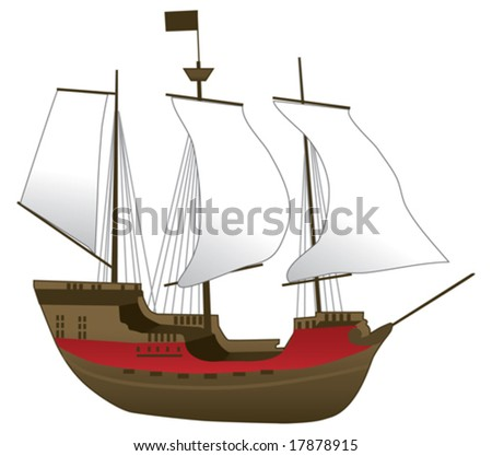 Old Ship Vector Illustration
