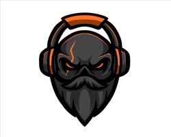 Old Skull Beard illustration gaming esport logo vector