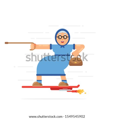 Old Smiling Granny Travels on Modern Hover Board. Funny Future Concept. Active Lifestyle on Retirement. Flat Vector Illustration.