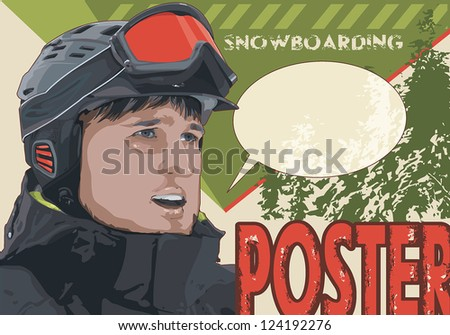 Old snowboarding vintage poster, winter sports vector illustration