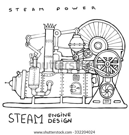old steam engine. hand drawn...