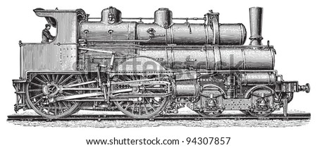 Old steam locomotives / vintage illustration from Meyers Konversations-Lexikon 1897