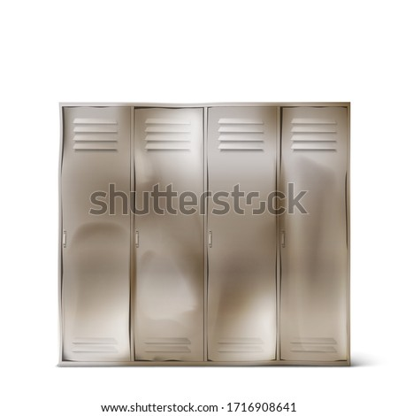 Old steel lockers with dents in school corridor or changing room in gym. Vector realistic rumpled metal cabinets with closed doors in sport or fitness club isolated on white background