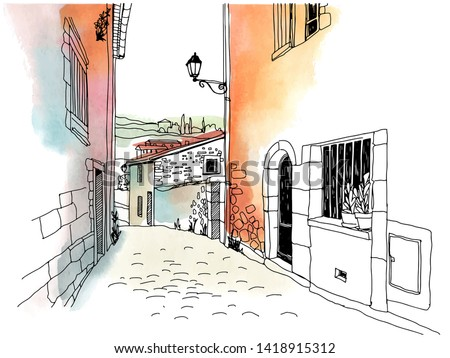 old street in romantic provence