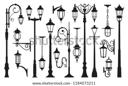Old street lamp black silhouette, city vintage. Light pole, lamppost urban elegant collection. Vector illustration isolated on white background