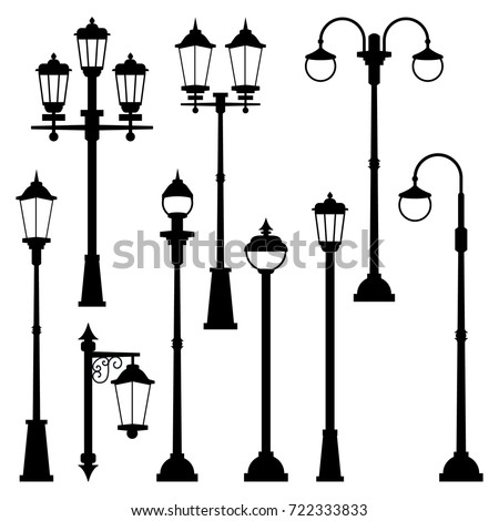 old street lamps set in...