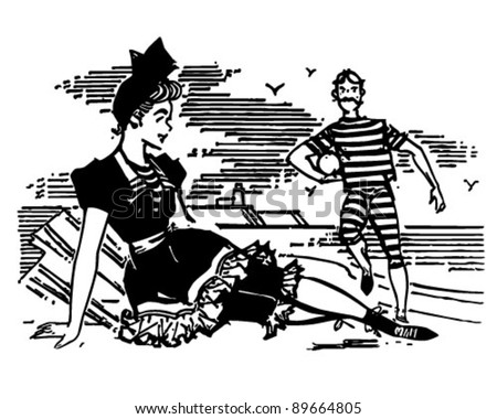 Old Style Beach Couple - Retro Clipart Illustration