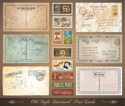 Old style distressed postcards with a lot of post stamps with vintage designs. Rubber stamp and first class mail sticker included.