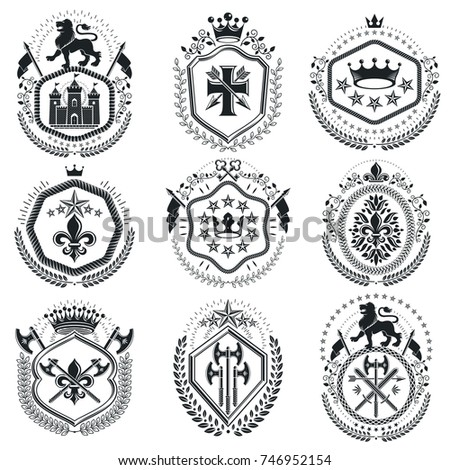 Old style heraldry, heraldic emblems, vector illustrations. Coat of Arms collection, vector set.