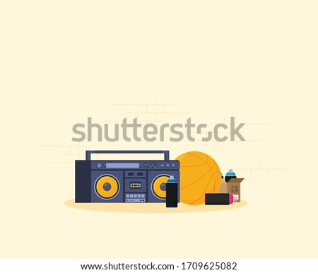 old style music boombox flat