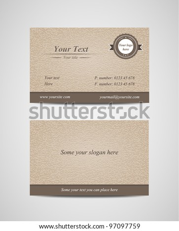 Old-style retro vintage business card - both front and back side-vector