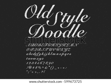 Old style script hand drawing alphabet set. Vector Illustration.