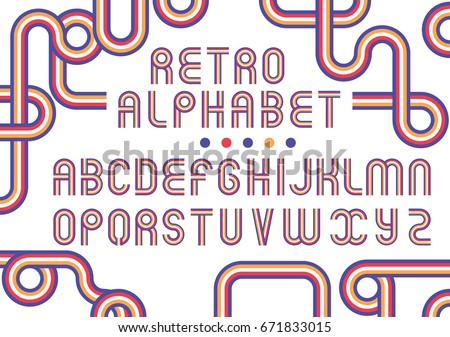 Old Style Vector Alphabet Retro Type Font Disco Vintage Typography Poster Stripe