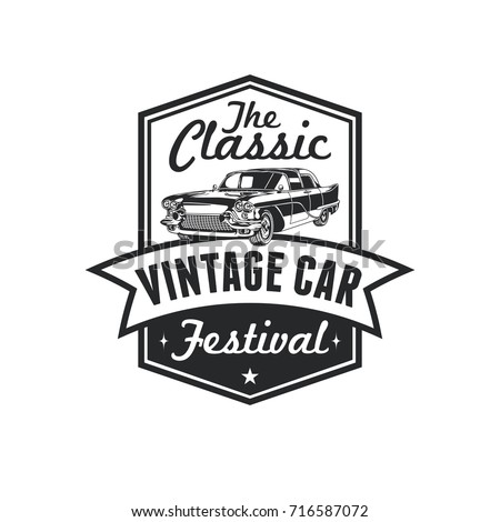 Old Style Vintage Classic Car Vector Logo, Badge, Emblem, Icon, Sticker. Car Show, Exhibition, Festival Element.