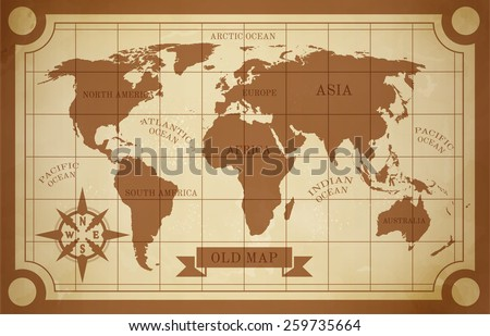 old style world map vintage...