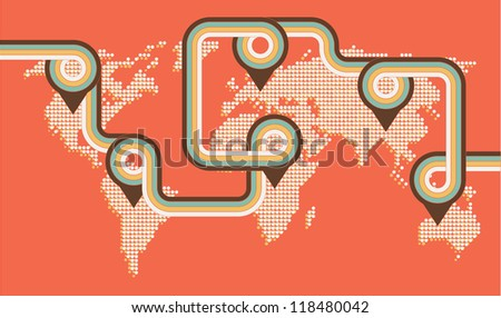 Old style world map with disco stripes and navigation pointers. - stock vector