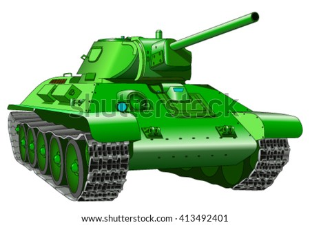 old tank on a white background