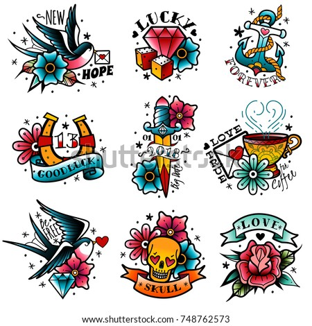 Old tattooing school colored emblems labels set with swallow rose heart cup of coffee knife anchor skull symbols isolated vector illustration