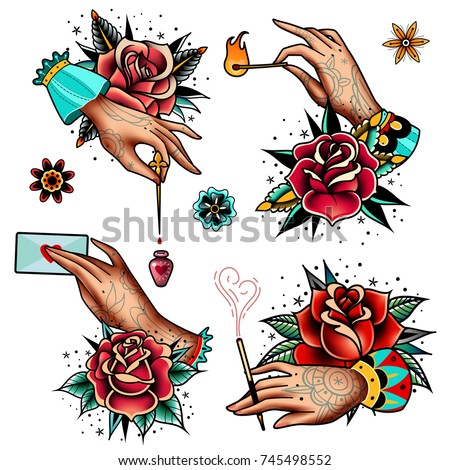 Old tattooing school colored icons set with hands roses heart burning match flowers letter cigarette holder bottle of potion symbols isolated vector illustration