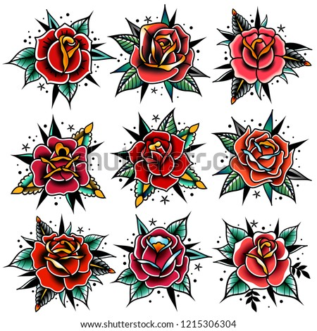 Old tattooing school colored icons set with roses symbols isolated vector illustration