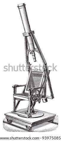 Old telescope / vintage illustration from Meyers Konversations-Lexikon 1897